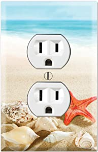 Graphics Wallplates - Sea Shells Starfish Beach Sand- Duplex Outlet Wall Plate Cover