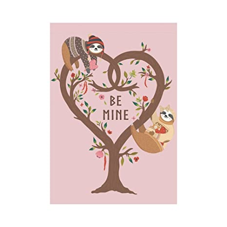 99bc3784347b INTERESTPRINT Be Mine Cute Sloth Valentine Polyester Garden Flag Outdoor  Banner 28 x 40 inch, Love Tree Decorative Large House Flags for Party Yard  ...