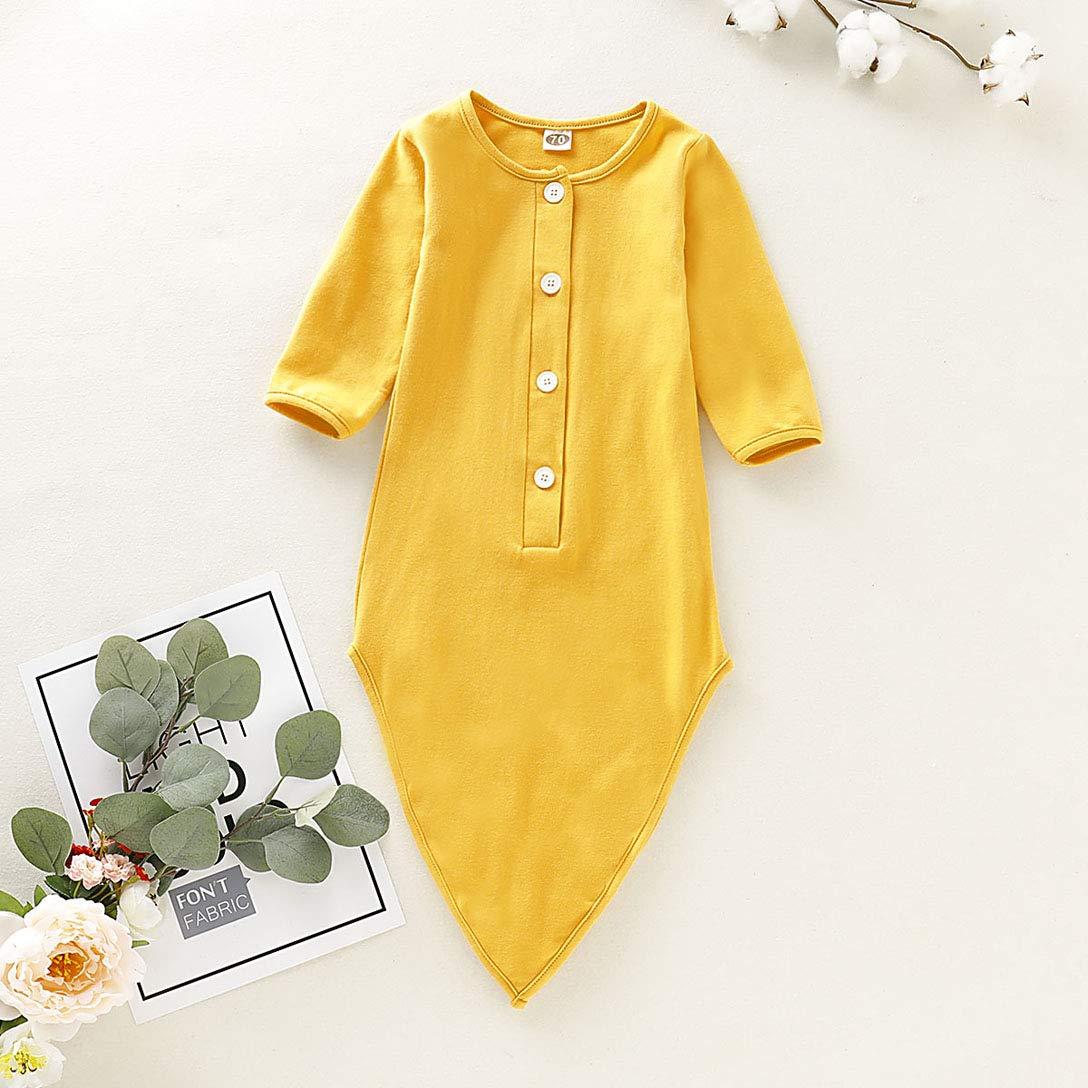 Newborn Unisex Baby Cotton Striped Sleepwear Nightgown /& Headband Set Knotted Sleeping Bag