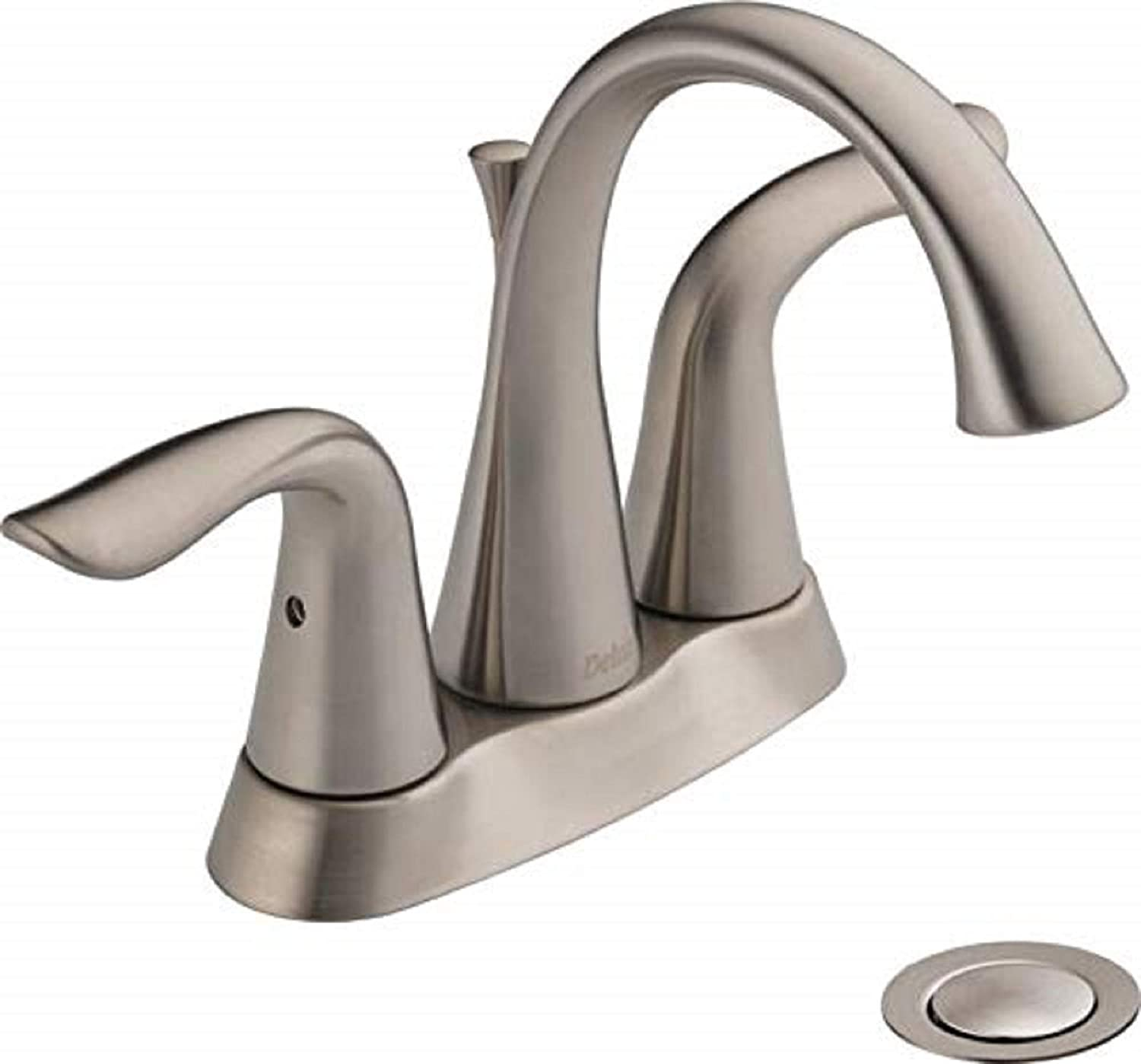 Delta Faucet Lahara Centerset Bathroom Faucet Brushed Nickel, Bathroom Sink Faucet, Diamond Seal Technology, Metal Drain Assembly, Stainless 2538-SSMPU-DST - Touch On Bathroom Sink Faucets -