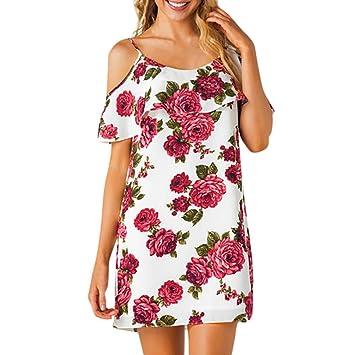 Vestido de mujer dulce – Saihui verano estampado floral Ruffles manga corta frío hombro playa fiesta