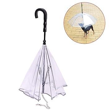 Paraguas para perro, paraguas transparente para cachorro de mascota con correa integrada para mantener seco