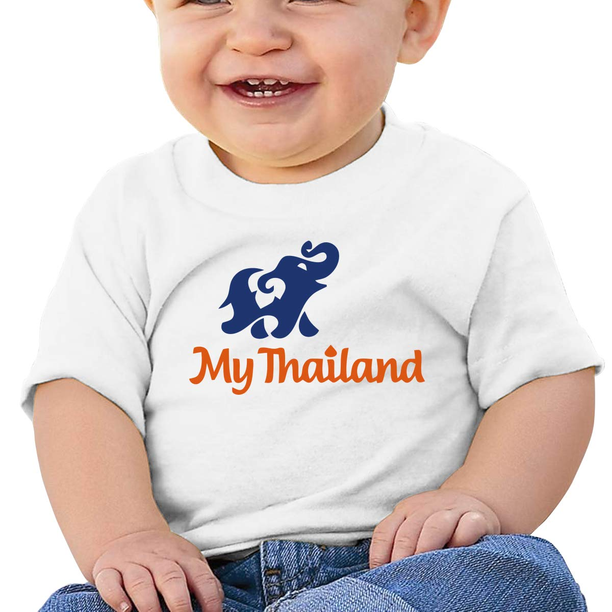 SakanpoAbstract Elephant Toddler//Infant Short Sleeve Cotton T Shirts White