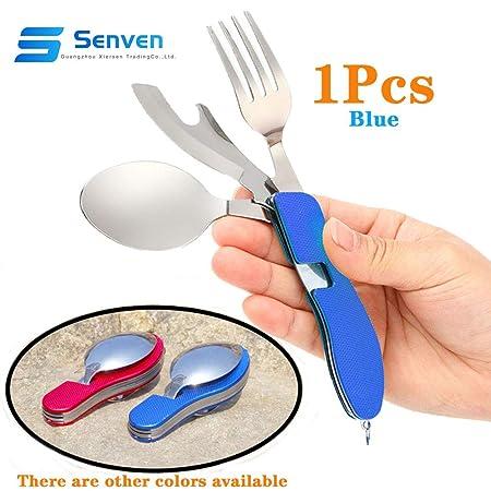 Senven® 4-en-1 Cubiertos Plegables, Vajilla Portátil de Acero Inoxidable para Camping, Vajilla Plegable Desmontable, Incluye Cuchillo, Tenedor, ...