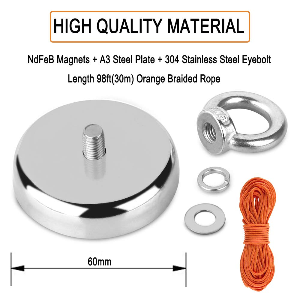 Super Strong Fishing Magnet | 350 lbs Pulling Force Rare Earth Neodymium Magnet with Countersunk Hole and Eyebolt | Diameter 2.36 inch (60mm) with 100 feet Rope Pulling Force Super Strong Neodymium Ma by HHOOMY (Image #3)