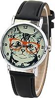 Cute Cat face pattern PU Leather Dress Watch(Black)
