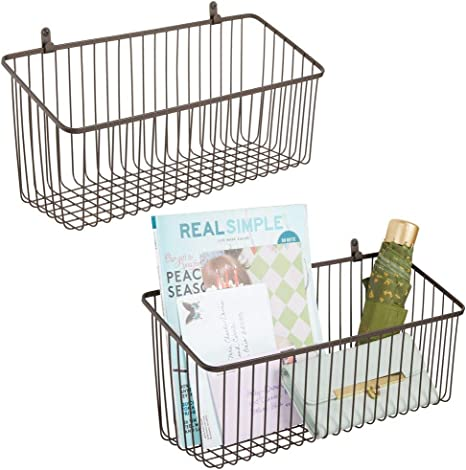 Wall Mount Hooks Included Workspaces mDesign Hanging Metal Farmhouse Wall Decor Storage Organizer Basket Shelf with Handles for Hanging in Home Office Chrome