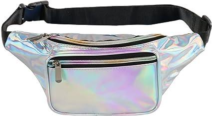 Iridescent Rainbow Holographic Fanny Pack Party Rave Festival Waist Belt Zip