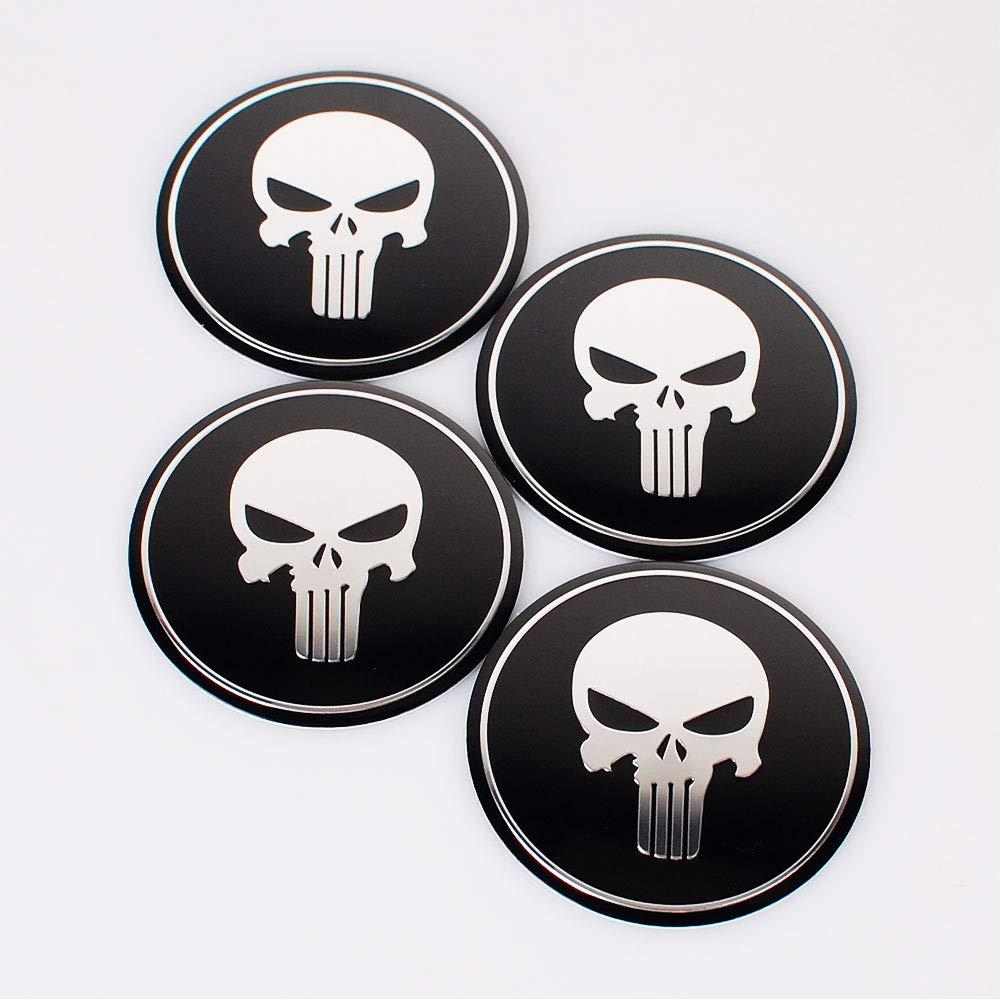 Car Tire Stickers Wheel Center Cover Cap Resin-Topped Badges Stickers -4 Pcs/Set Skull Car Sticker Hub Cap Emblem Badge.