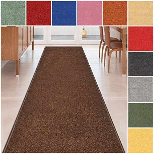 Custom Size BROWN Solid Plain Rubber Backed Non-Slip Hallway Stair Runner Rug Carpet 31 inch Wide Choose Your Length 31in X 16ft