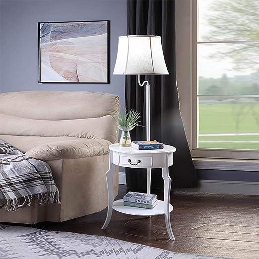Lámpara de pie LED con cajones - Mesita de Noche - Mesa Lateral con estantes para sofás de Sala - Luz de Piso de Madera con Mesa: Amazon.es: Hogar