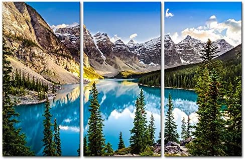 Colorado Wall Art 3 Pieces Snow Mountain and Lake National Park Landscape Modern Artwork Painting Print On Canvas Framed Picture