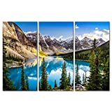 3 Pieces Modern Canvas Painting Wall Art The Picture For Home Decoration Beautiful Sunset View Of Morain Lake And Mountain Range Alberta Canada Landscape Mountain&Lake Print On Canvas Giclee Artwork For Wall Decor Picture