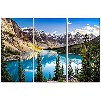 Mountain 3 Pieces Modern Canvas Painting Wall Art for Home Decoration Morain Lake and Mountain Rang Alberta Canada Landscape Lake Print On Canvas Giclee Artwork for Wall Decor