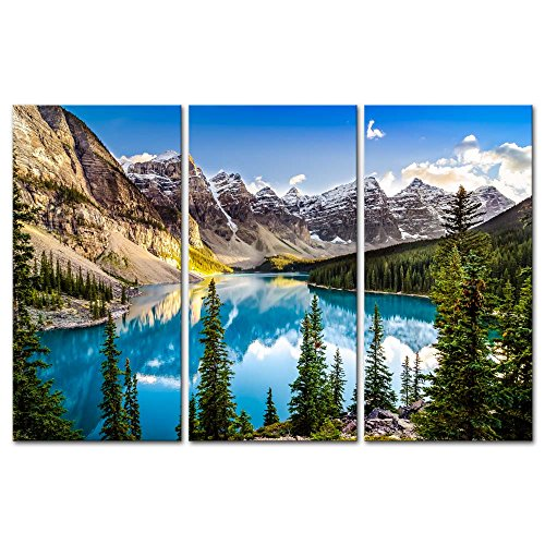 (3 Pieces Modern Canvas Painting Wall Art For Home Decoration Morain Lake And Mountain Range Alberta Canada Landscape Mountain&Lake Print On Canvas Giclee Artwork For Wall)
