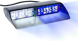 16 LED Emergency Dash Light Dual Rapid Switch Windshield Warning Hazard Safety 17 Flashing Strobe Modes Car Truck Vehicle Law Enforcement Police - White/Blue
