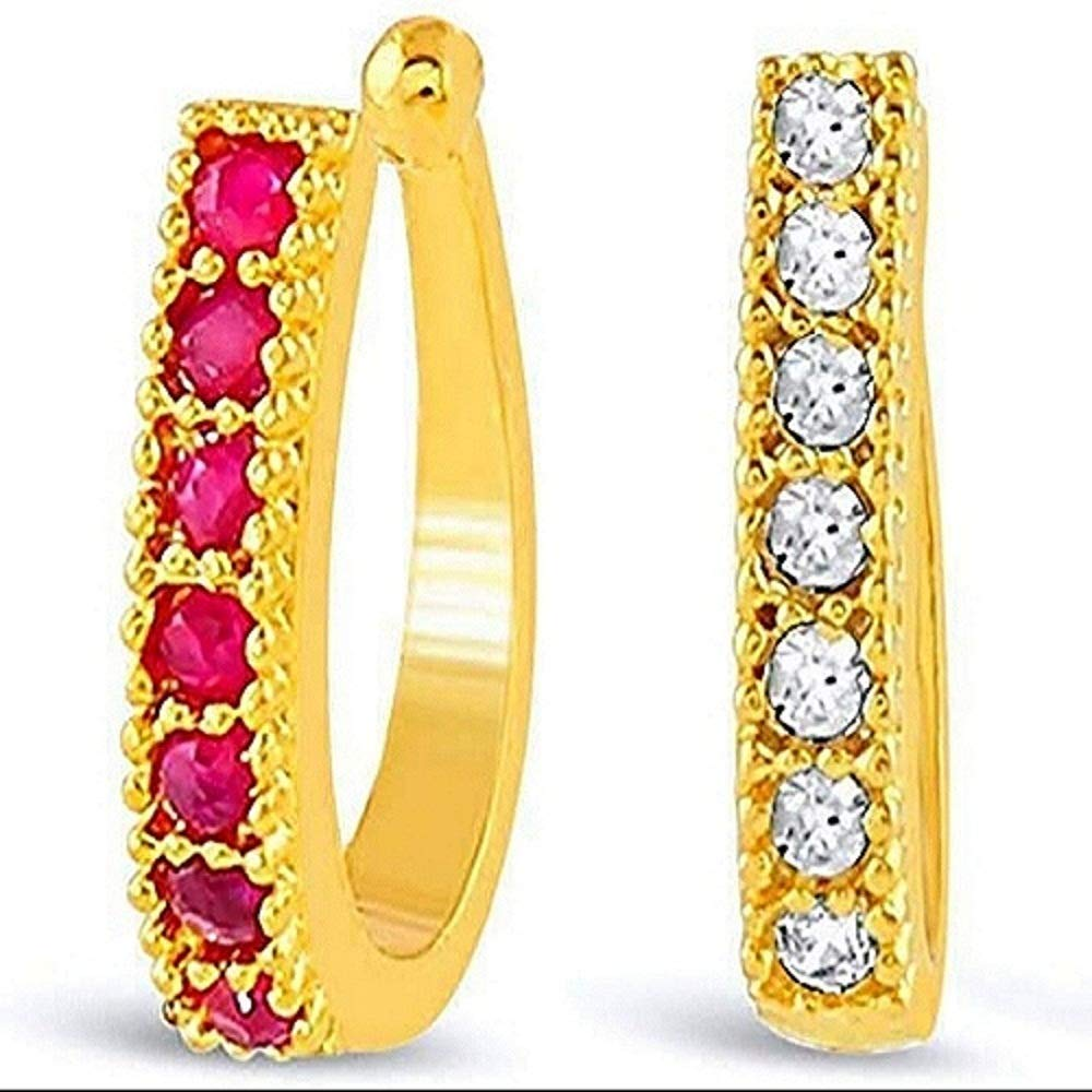 Buy S M Royal Presents Sania Mirza Style Nose Ring Without Piercing Crystal Clip On Pressing Type Nose Pin Stud For Women Girls Combo 2pcs Gold White And Red Stone Platinum Plated Nath