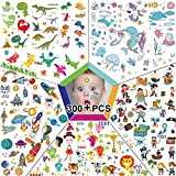300pcs Temporary Tattoos for Kids, Featured 5 Series of Fake Waterproof Tattoos for Boys Girls- Spaceships, Dinosaurs, Animal Zoos, Mermaids, Pirates. (300pcs on 20 Sheets-4.7inch X 3inch)