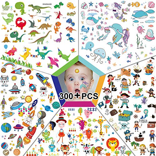 (300pcs Temporary Tattoos for Kids, Featured 5 Series of Fake Waterproof Tattoos for Boys Girls- Spaceships, Dinosaurs, Animal Zoos, Mermaids, Pirates. (300pcs on 20 Sheets-4.7inch X)