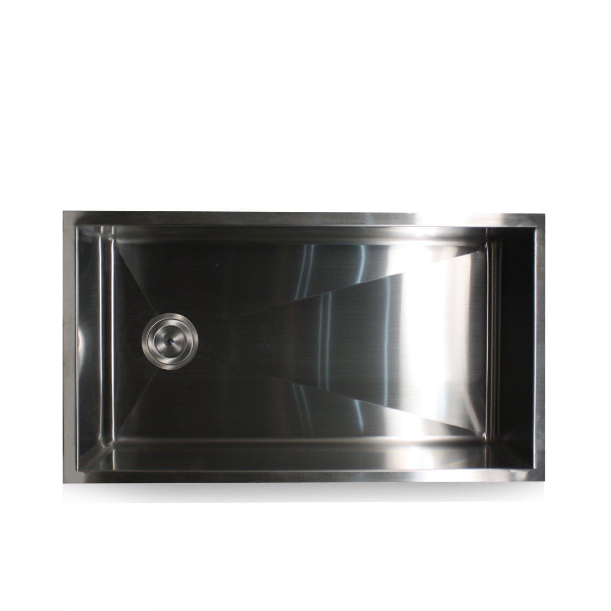 nantucket sinks zr3218 32inch pro series single bowl undermount kitchen sink with offset drain stainless steel amazoncom