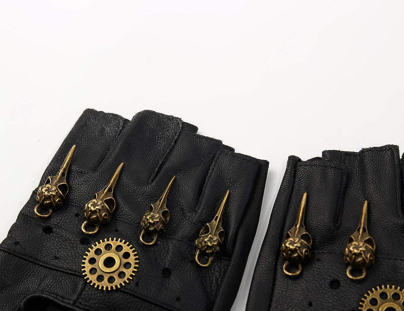 Gants en Cuir Steampunk Mitaines Gothiques sans Doigts