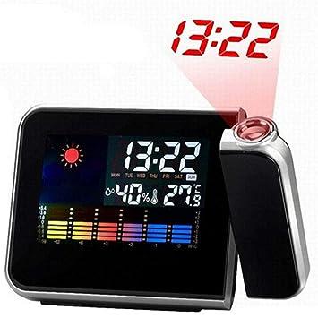 AXDNH Despertador Proyector Colorida, Techo/Pared Que Proyecta Relojes Digitales con RetroiluminacióN Pantalla LCD EstacióN MeteorolóGica HigróMetro ...