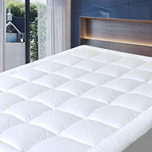 """Cosylifee Queen Mattress Pad Cover Thick Quilted Mattress Topper Cooling Mattress Protector Overfilled Cotton Top Pillow Top with Snow Down Alternative Fill (8-21""""Fitted Deep Pocket)"""