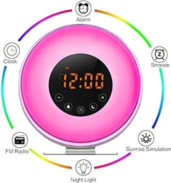 Aipker Wake Up Light, Sunrise Alarm Clock with FM Radio Snooze Function 7 Colors LED Bedside Lamp Night Light Nature Sounds for Heavy Sleeper Children