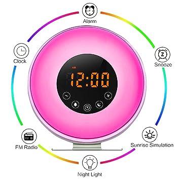 aipker Sunrise reloj despertador para Heavy duermen los adolescentes niños: Amazon.es: Electrónica