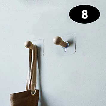Ganchos de pared autoadhesivos – 8 unidades sin taladros, ganchos de madera para colgar en