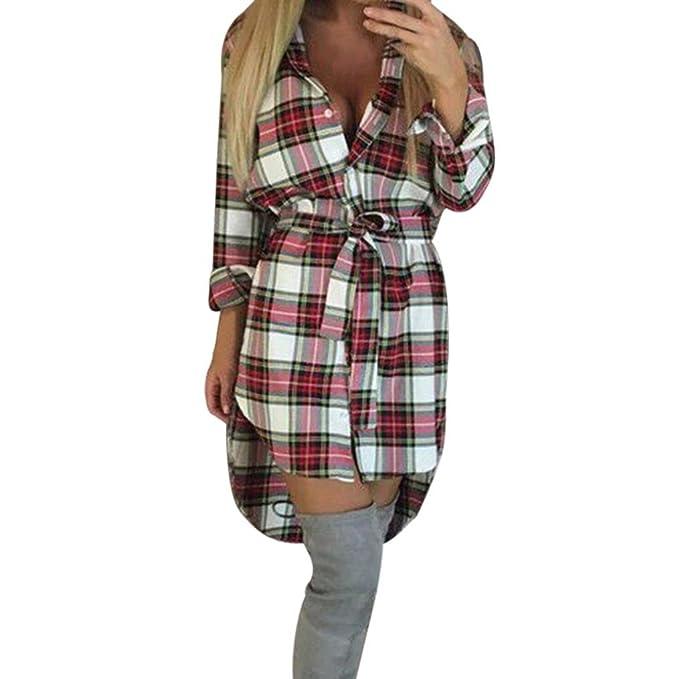 Koly Mujer Camisas A Cuadros Blusa De Manga Larga O-Cuello Casual Camisetas y Tops