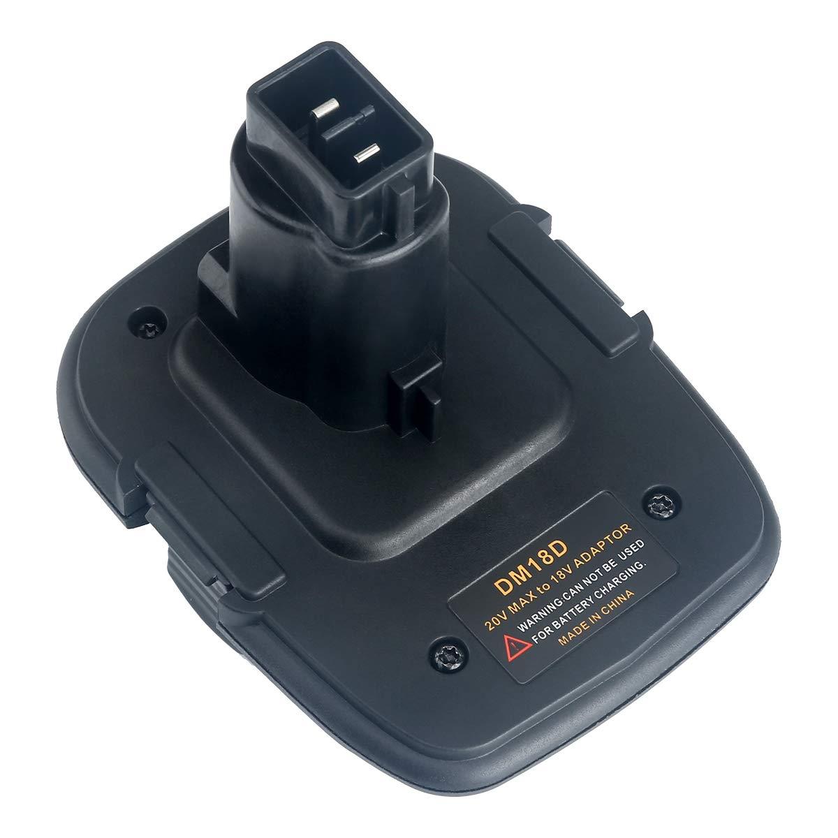 Lasica 20V Battery Adapter DCA1820 with USB port for Dewalt 18V Tools, Convert Milwaukee 18V Lithium Battery M18 DeWalt MAX 20Volt Lithium-Ion Battery DCB204 to DeWalt 18V NiCad NiMh Battery DC9096