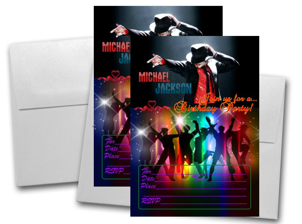 12 Michael Jackson Birthday Invitation Cards 12 White Envelops Included #1