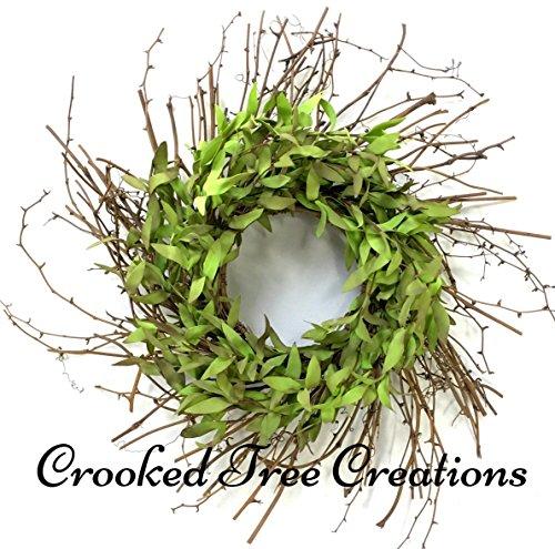 Spring Wreath, Summer Wreath, Spring Door Wreaths, Leaf Wreath, All Seasons Wreath, Wispy Wreath, Green Wreath, Floral Décor, Spring Wreaths (Leaf Wispy)