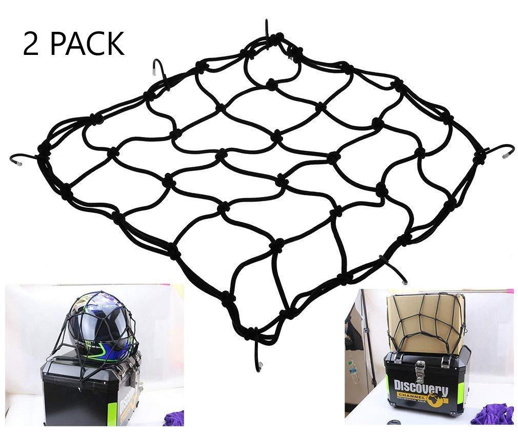 Heavy-duty Elasticated Bungee Luggage Cargo Net Motorcycle Bike Equipment Cargo with Hooks Pack of 2-40 x 40cm Black Txyk