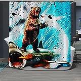 "WAYLONGPLUS Violent Bear Shower Curtain Waterproof Pongee Decorative Bath Curtain Plastic Shower Hooks Include (72""x72"")"