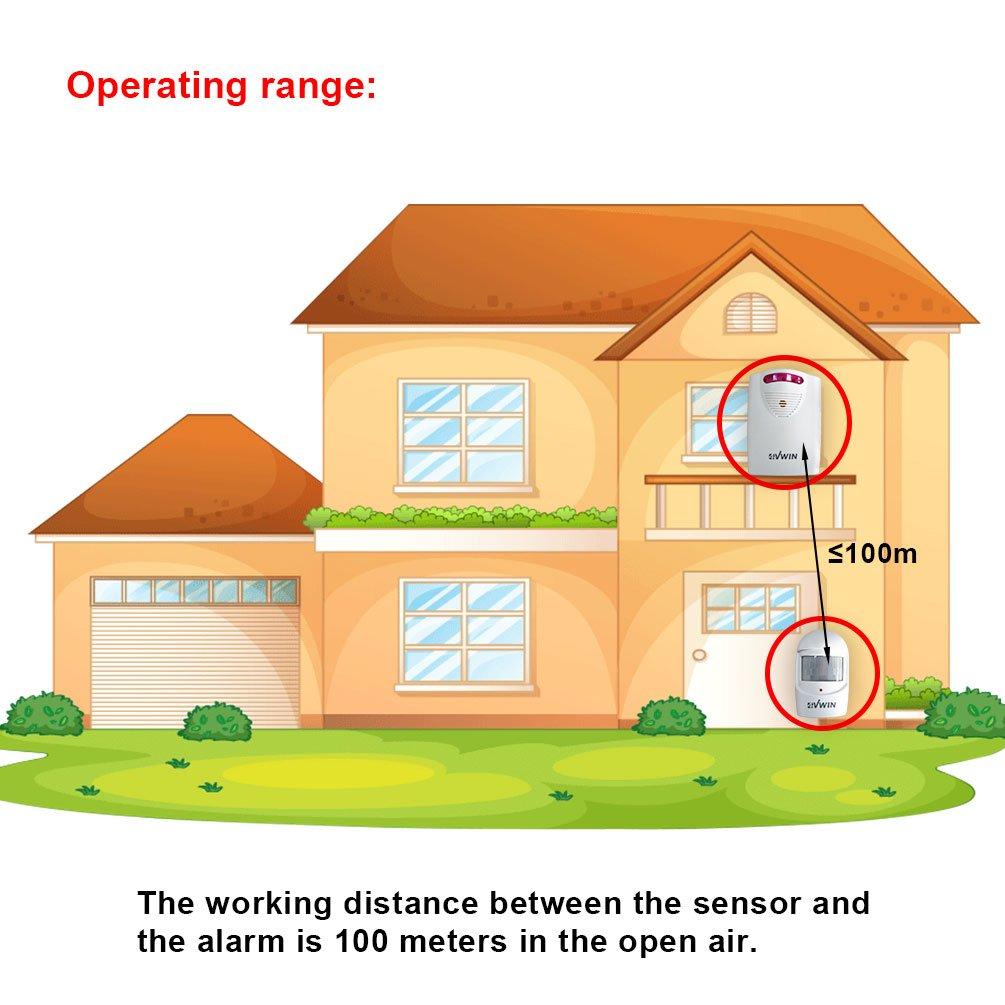4VWIN Home Security Wireless Driveway Alarm 1 receptor y 1 detector de movimiento PIR detector de infrarrojos Alerm sistema de kit