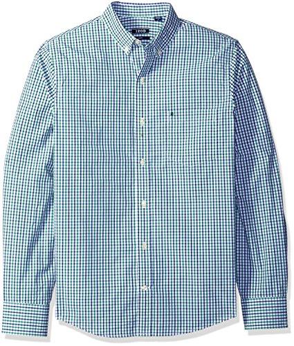 IZOD Men's Premium Performance Natural Stretch Tattersal Long Sleeve Shirt (Regular and Slim Fit) - Slim Stretch Shirt
