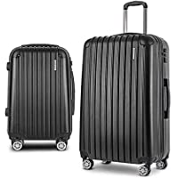 Wanderlite 2PCS Carry On Luggage Sets Suitcase Travel Hard Case Lightweight - Black
