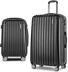 Wanderlite 2PCS Carry On Luggage Sets Suitcase Travel Hard Case Lightweight - Black