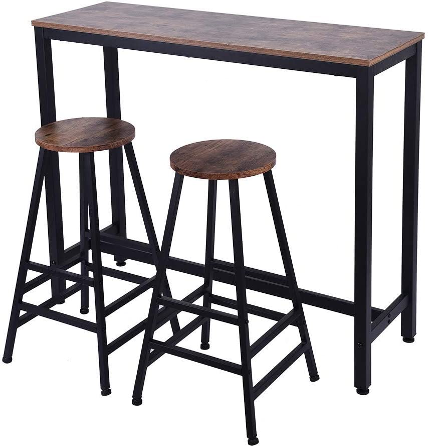 HSada/_Home Storage US Fast Shipment,HSada Bar Table Pub Dining Height Table Bistro Table,47.2 x 15.7 x 39.4inches,Brown