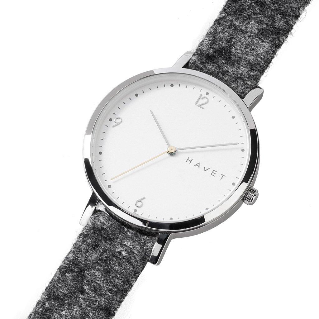 HAVET | Reloj de mujer Inari de acero con esfera de color blanco y correa tejido gris: Amazon.es: Relojes