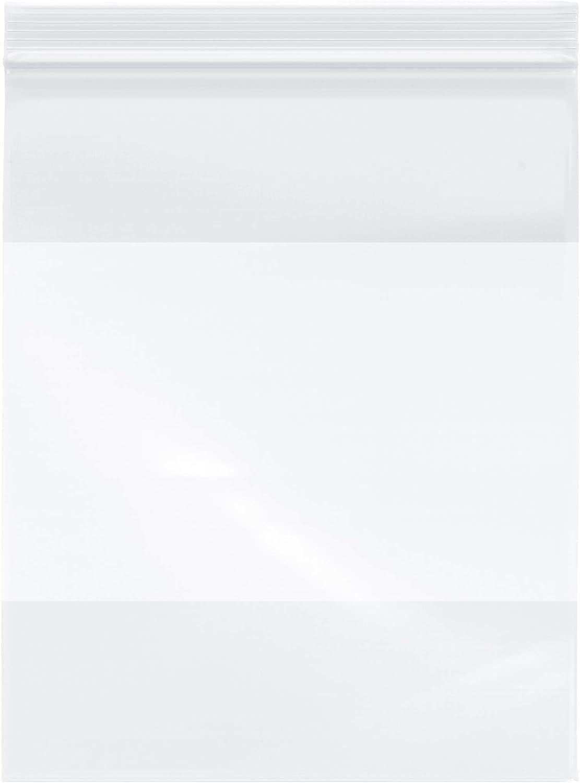"Plymor Zipper Reclosable Plastic Bags w/White Block, 2 Mil, 8"" x 10"" (Pack of 100)"