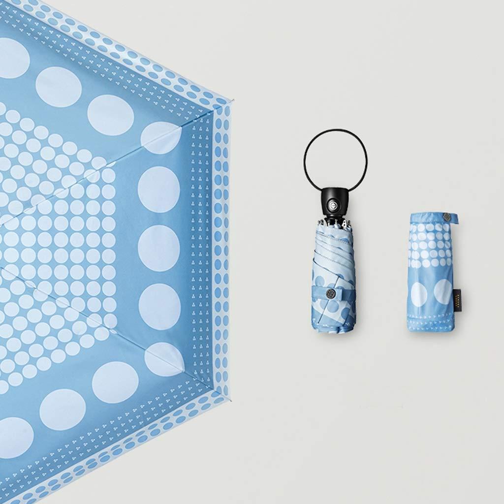QYSZYG 日焼け止めUVパラソル超軽量ミニ折りたたみパラソル雨と雨パラソルブラック、ブルーオプション 傘 (色 : 青) B07Q2TTWHZ 青