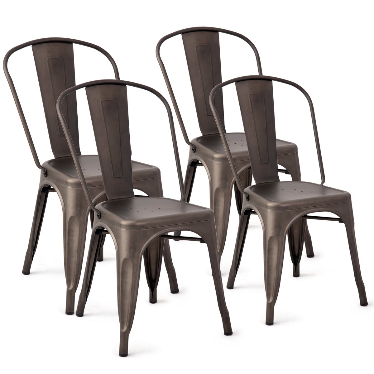 Costway Tolix Style Dining Chairs Metal Industrial Vintage Chic High Back Indoor Outdoor Dining Bistro Café Kitchen Side Stackable Chair Set of 4 (Copper)