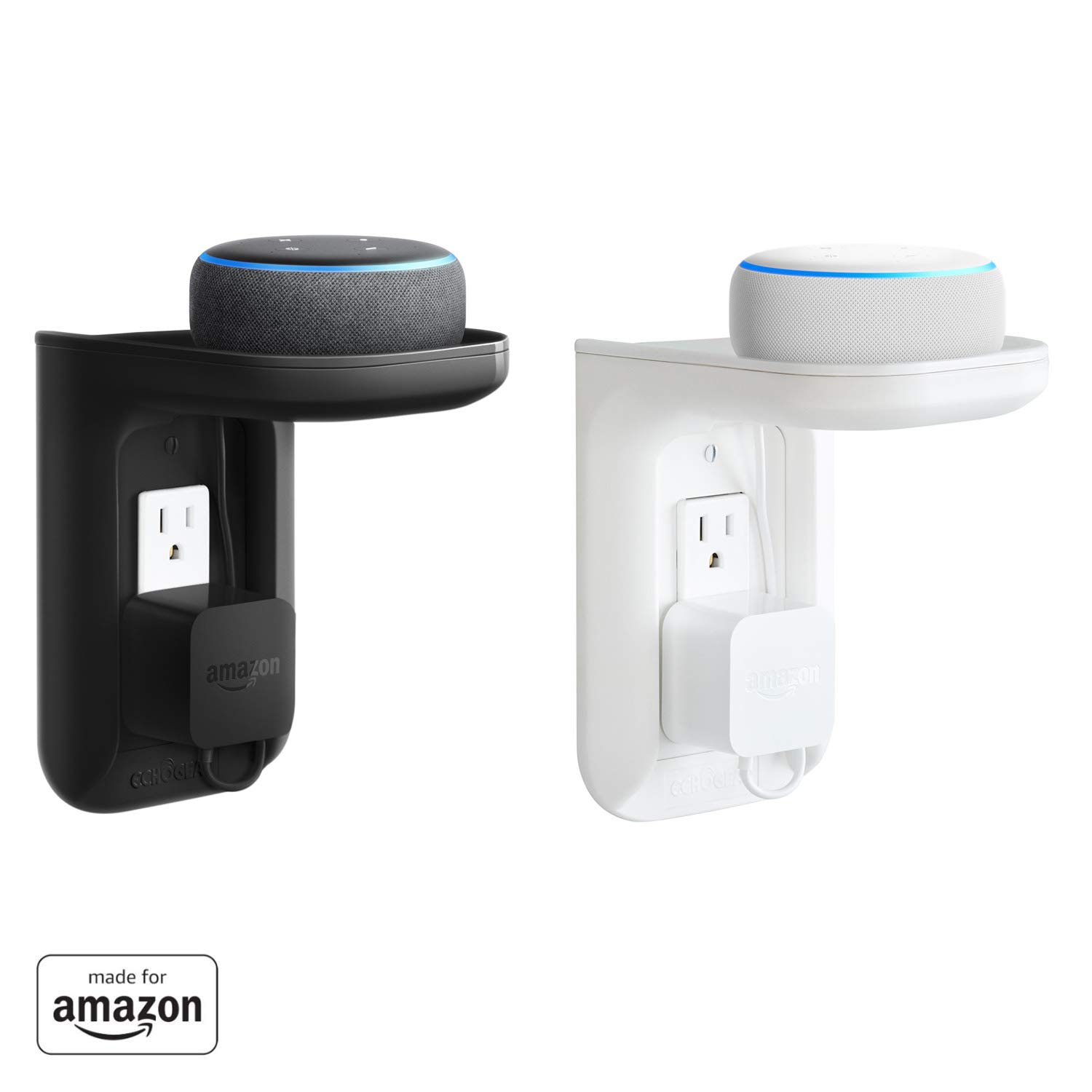 """Made for Amazon"" ECHOGEAR Outlet Shelf for Echo Dot (3rd Gen & Kids edition), Echo Plus (2nd Gen), and all previous Echo generations, White (EGOS1-W1)"