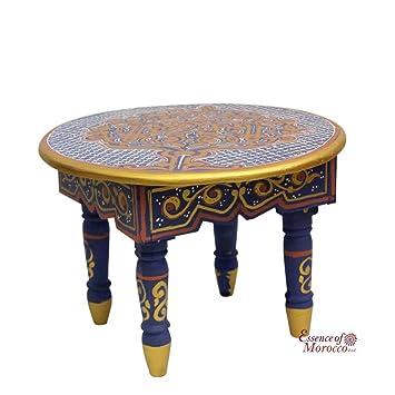 Table Basse Marocaine Petite Bois Peint Style Zouak Fait à La Main