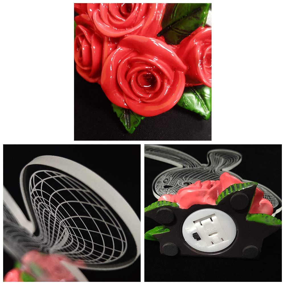 LED Light Rabbit Gifts Rose Base Desk Lamp 7 Colors Changing Cake Topper Decorations