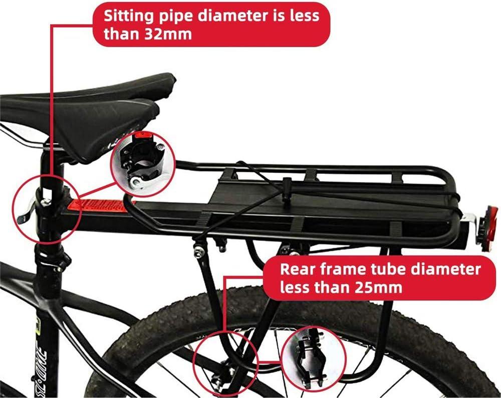 Portaequipajes Bicicleta, Carga De 50 Kg, Aleación De Aluminio, Soporte Ajustable para Bicicleta con Asiento Trasero para Bicicleta De Montaña con Reflector para Alforjas, Equipaje, Carga: Amazon.es: Deportes y aire libre