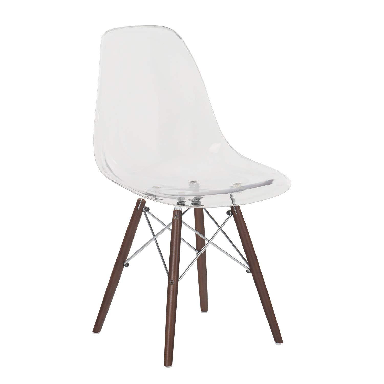 Silla con asiento transparente y patas en madera oscura o clara, reforzadas con estructura de acero.